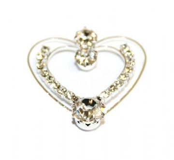 1pce x 34mm*32mm Silver plated heart pendant with rhinestone - S.F - WC203